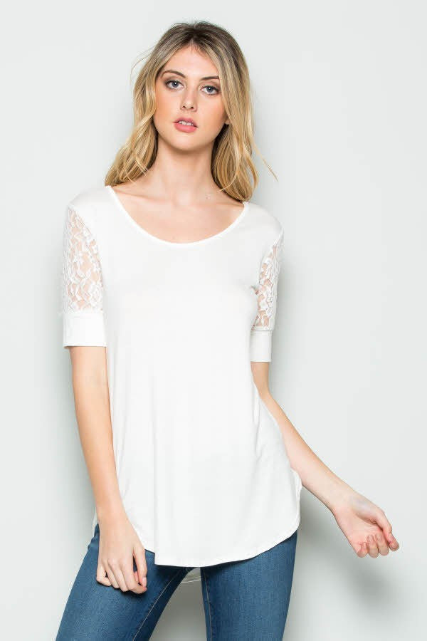 be1e87b58d Lace Sleeve Solid Top
