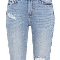 High Rise Distressed Ankle Jeans