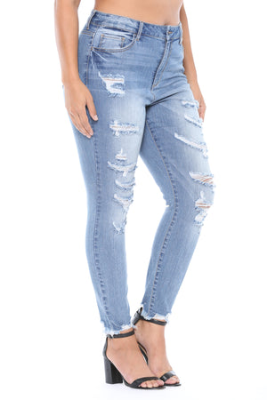 Cee Cee High Rise Frayed Hem Distressed Jeans (Plus)