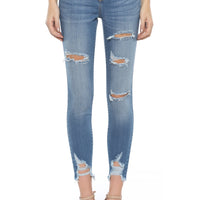 Bridgett Mid Rise Crop Skinny Destroyed Jean