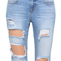Camilla Mid Rise Destroyed Skinny Crop Jeans