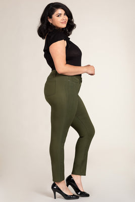 Olive Hyperstretch Skinny Jeans (Plus)