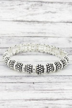 Silvertone Raised Dot Bead & Solid Ring Stretch Bracelet