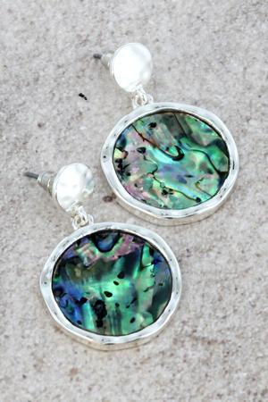 Abalone Silvertone Disk Post Earrings