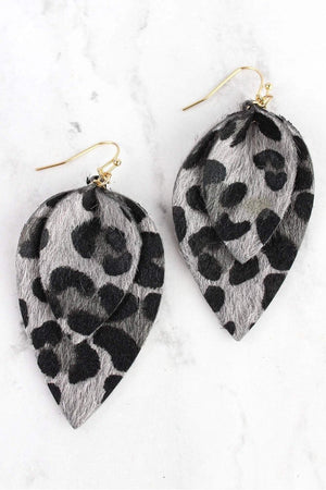 Gray Leopard Layered Petal Earrings