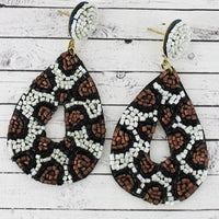 Snow Leopard Seed Bead Teardrop Post Earrings