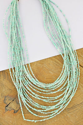 Mint & Clear Seed Bead Layered Necklace