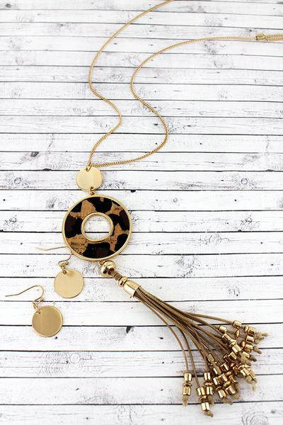 Leopard Cork Circle Tassel Necklace Set