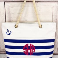 Nautical Stripe Anchor Tote with Rope Handles