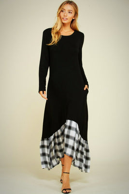 Maxi Solid with Plaid Hem Dress