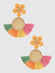 Fan Shape Woven Raffia Flower Earrings