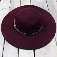 City Chic Faux Snakeskin Banded Wool Floppy Hat Burgundy