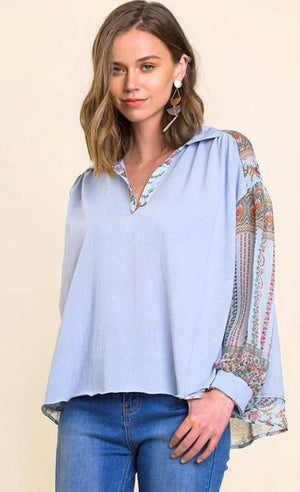 Puff Sheer Floral Sleeve Collared Top with Raw Hem