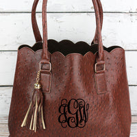 Ostrich Faux Leather Scalloped Tote