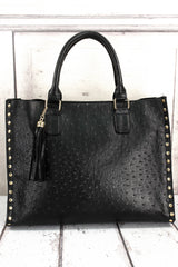 Faux Ostrich Leather Studded 2-in-1 Tassel Tote
