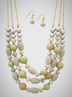Multi Bead Triple Layered Necklace Set