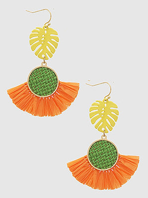 Multi Raffia Tropical Leaf Woven Wood Earrings