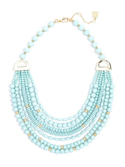 Mixed Beads Layered Bib Necklace