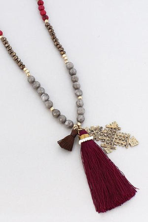 Ethiopian Cross Tassel Pendant Beaded Necklace