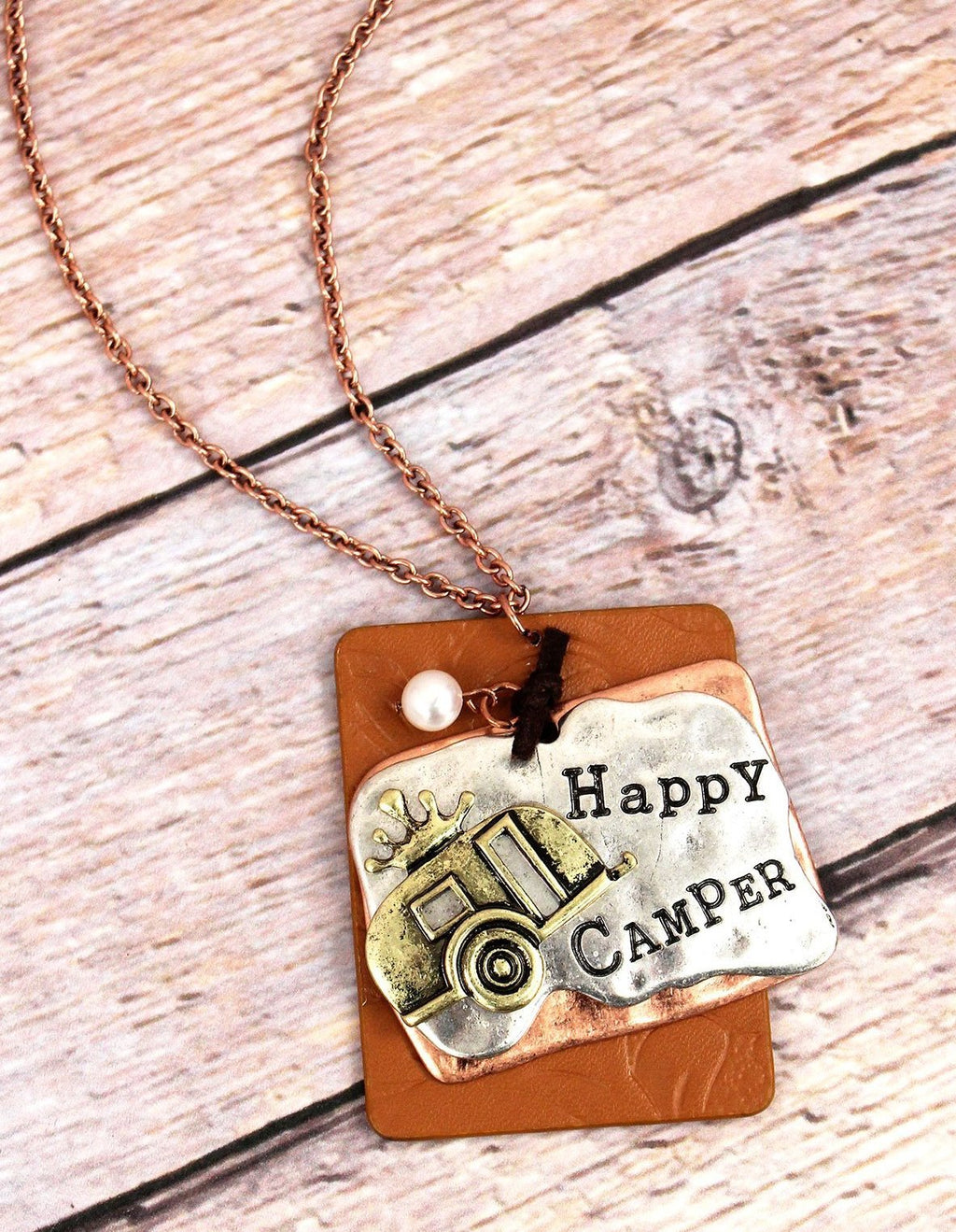 Happy Camper Faux Leather Necklace