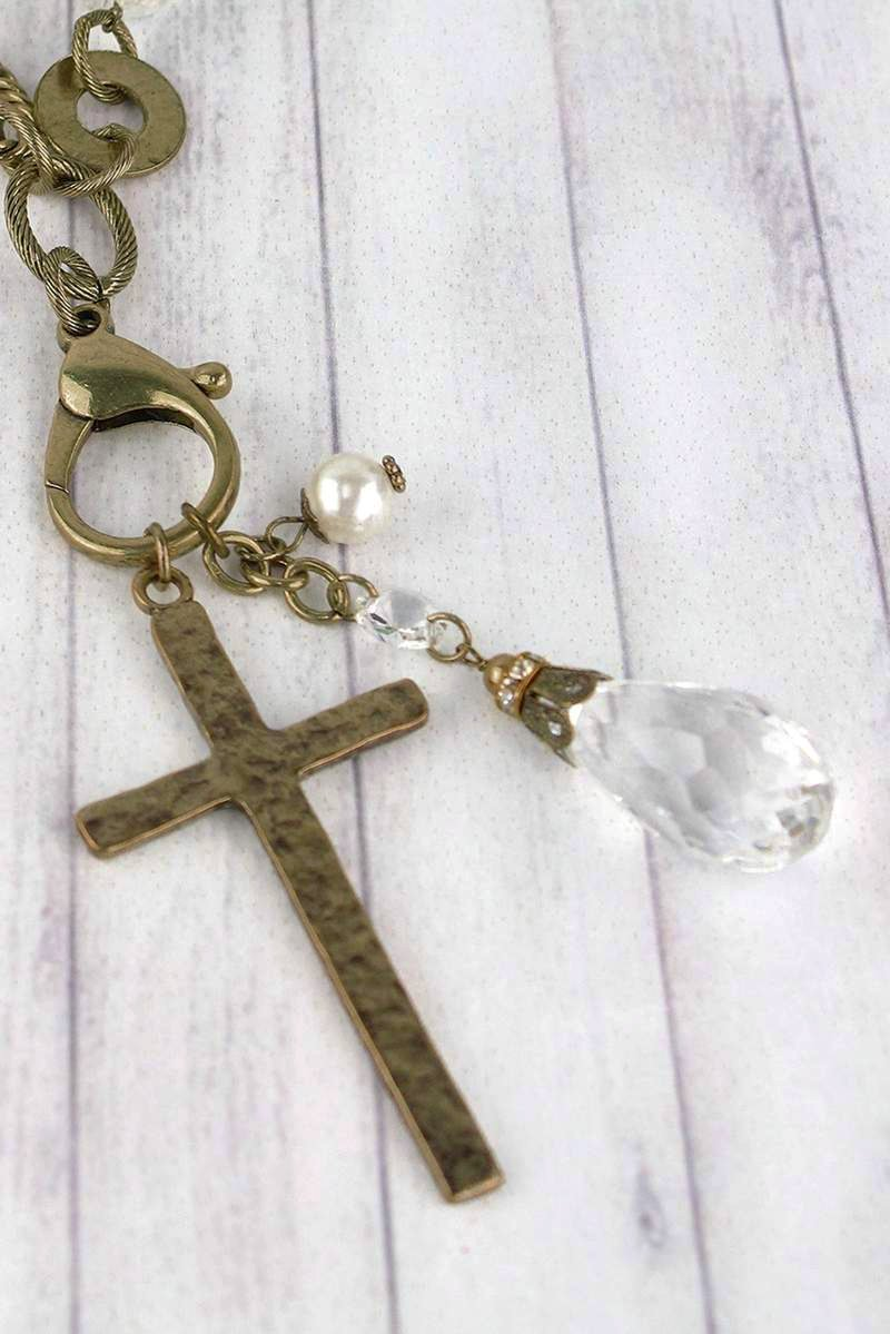 Burnished Brasstone Cross & Crystal Pendant Necklace