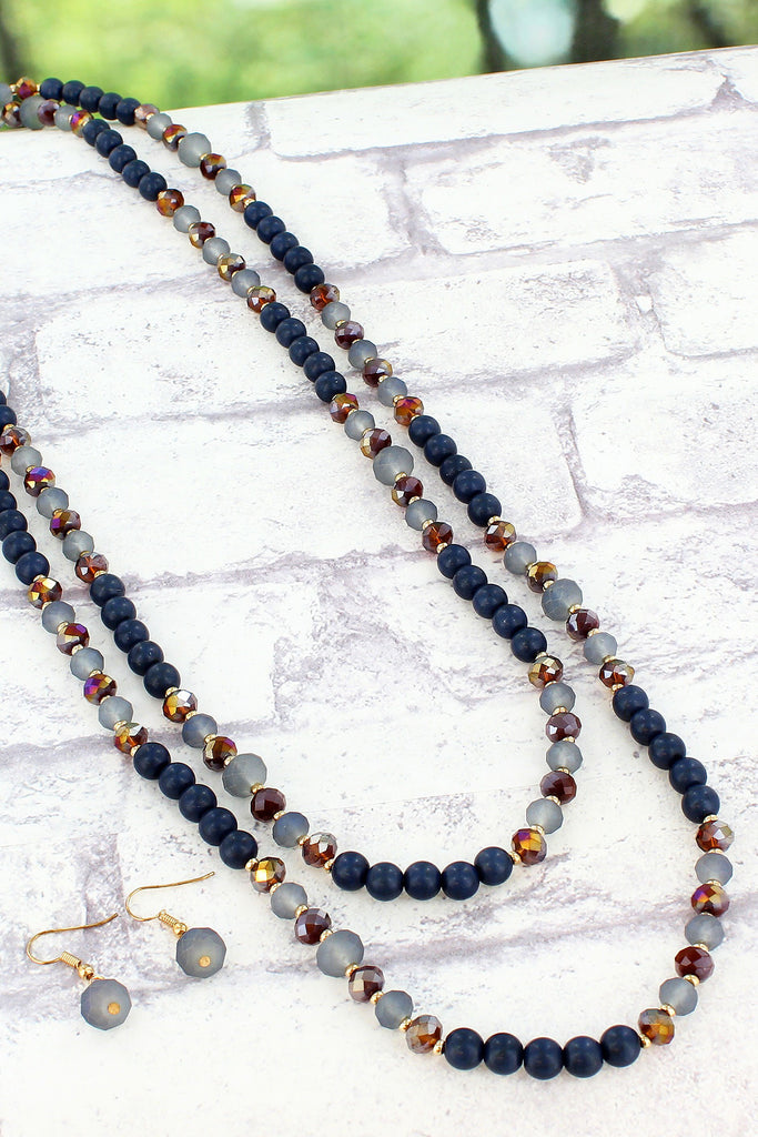 Blue Beaded Endless Necklace Set
