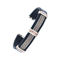 Men's Unique Leather Bracelet - HPSilver, Black with Copper, Adjustable Cuff - 0202