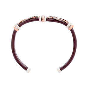 Unique Leather Bracelet - HPSilver, Brown with Copper, Adjustable Cuff - 0301
