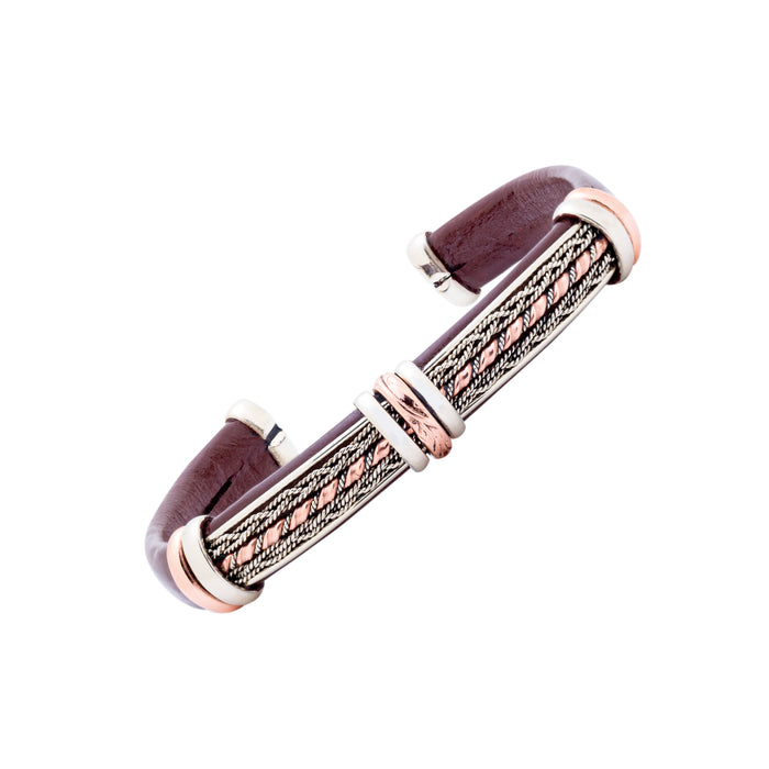 Unique Leather Bracelet - HPSilver, Brown with Copper, Adjustable Cuff - 0302