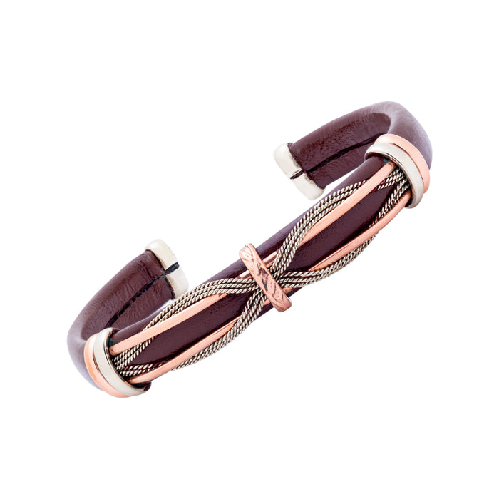 Unique Leather Bracelet - HPSilver, Brown with Copper, Adjustable Cuff - 0306