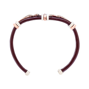 Unique Leather Bracelet - HPSilver, Brown with Copper, Adjustable Cuff - 0309