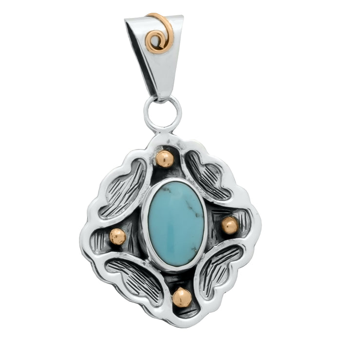Sterling Silver Pendant- HPSilver, Sterling Silver and Copper with Turquoise Pendant PN.VIC.2127