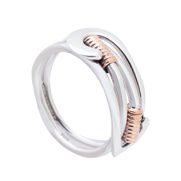 Sterling Silver Ring - HPSilver, Sterling Silver and Copper Adjustable Ring RG.FEL.2004