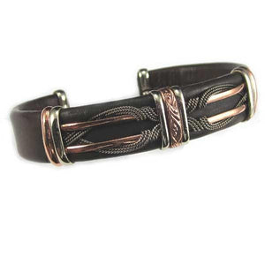 Men's Unique Leather Bracelet - HPSilver, Brown with Copper, Adjustable Cuff - 0401