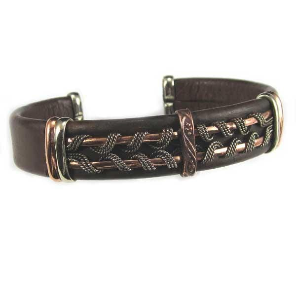 Men's Unique Leather Bracelet - HPSilver, Brown with Copper, Adjustable Cuff - 0403
