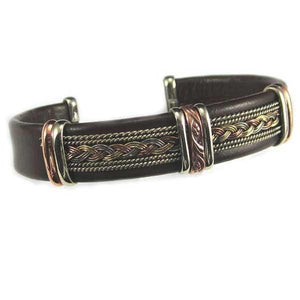 Men's Unique Leather Bracelet - HPSilver, Brown with Copper, Adjustable Cuff - 0405