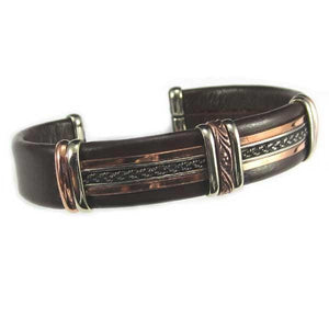 Bracelets Men's Unique Leather Bracelet - HPSilver, Brown with Copper, Adjustable Cuff - 0407