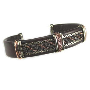 Men's Unique Leather Bracelet - HPSilver, Brown with Copper, Adjustable Cuff - 0408