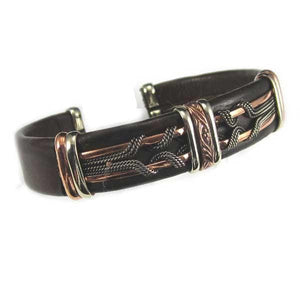 Men's Unique Leather Bracelet - HPSilver, Brown with Copper, Adjustable Cuff - 0409