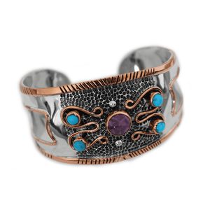 Bracelets Sterling Silver Bracelet - HPSilver, Sterling Silver and Copper with Amethyst and Turquoise Cuff BR.VIC.2001