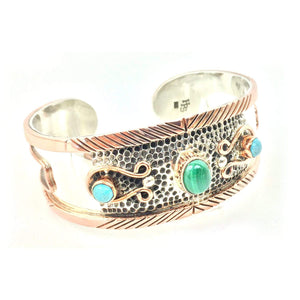 Sterling Silver Bracelet - HPSilver, Sterling Silver and Copper with Malachite and Turquoise Cuff BR.VIC.2003