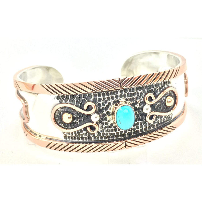 Sterling Silver Bracelet - HPSilver, Sterling Silver and Copper with Turquoise Cuff BR.VIC.2004