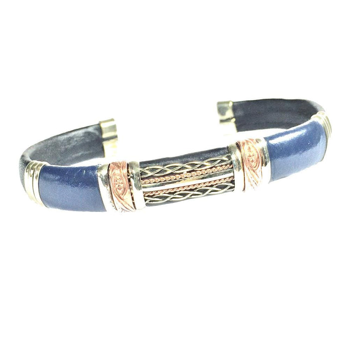 Unique Leather Bracelet - HPSilver, Black and Blue with Copper, Adjustable Cuff - 1305