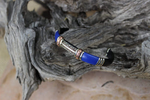 Bracelets Unique Leather Bracelet - HPSilver, Black and Blue with Copper, Adjustable Cuff -1311