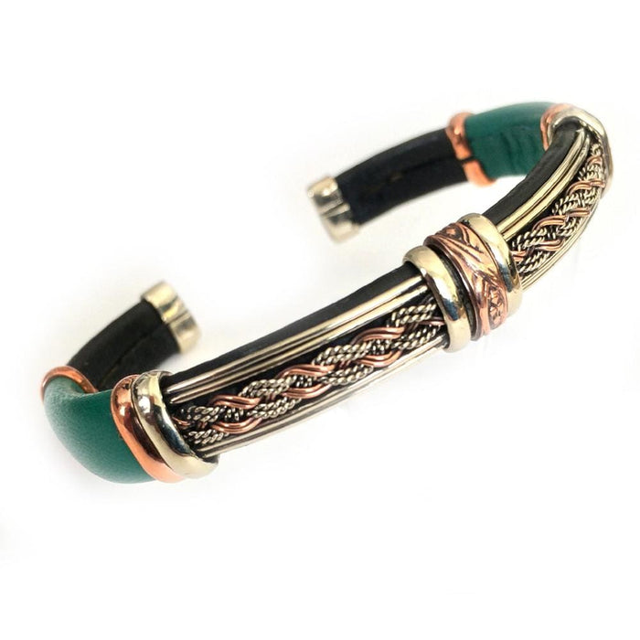 Unique Leather Bracelet - HPSilver, Black & Green with Copper, Adjustable Cuff - 0710