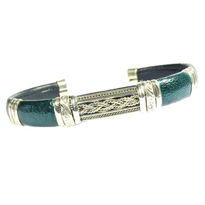 Unique Leather Bracelet - HPSilver, Black and Green with White Copper, Adjustable Cuff -1302