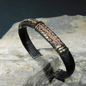 Unique Leather Bracelet - HPSilver, Black with Copper, Adjustable Cuff - 0136