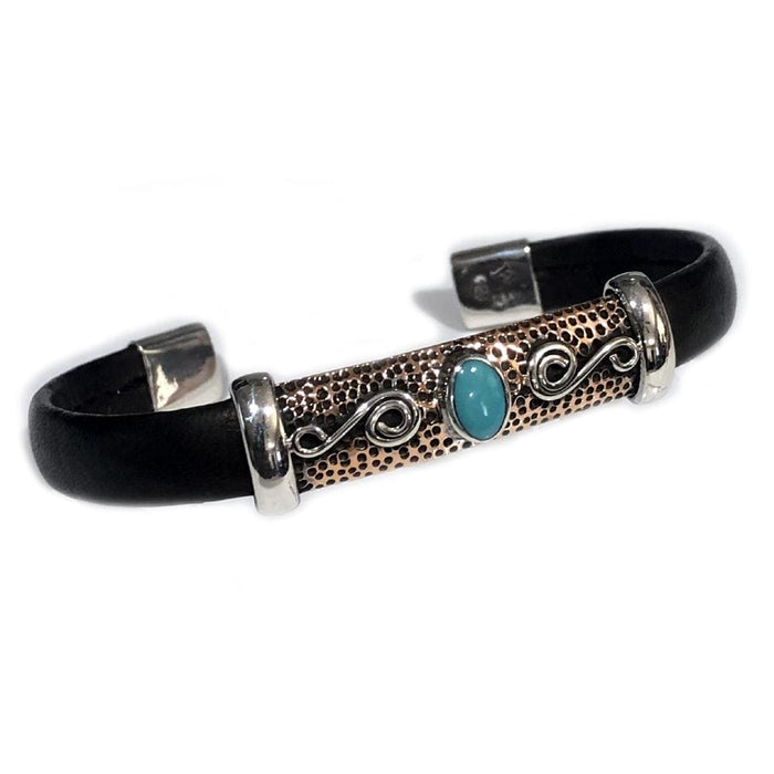 Unique Leather Bracelet - HPSilver, Silver and Copper with Turquoise, Adjustable Cuff - 1120