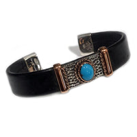 Bracelets Unique Leather Bracelet - HPSilver, Silver and Copper with Turquoise, Adjustable Cuff - 1221