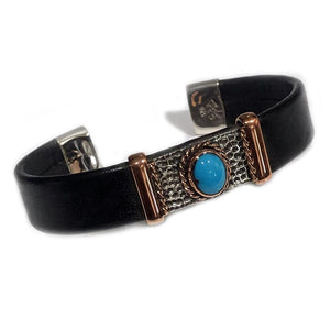 Unique Leather Bracelet - HPSilver, Silver and Copper with Turquoise, Adjustable Cuff - 1221